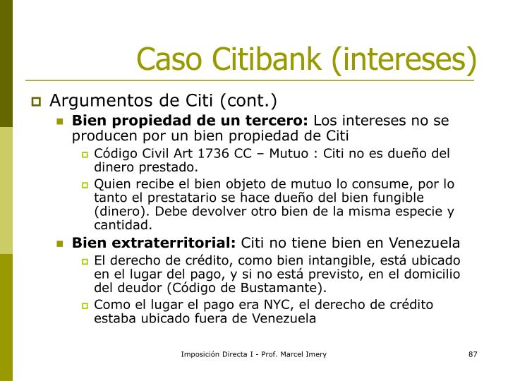 Caso Citibank (intereses)