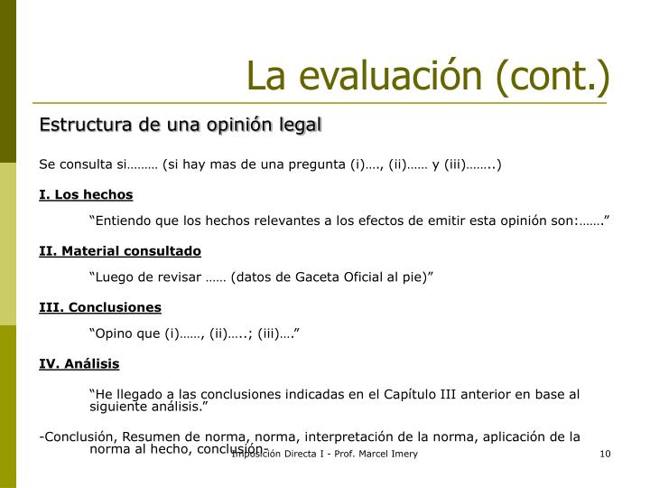 La evaluación (cont.)
