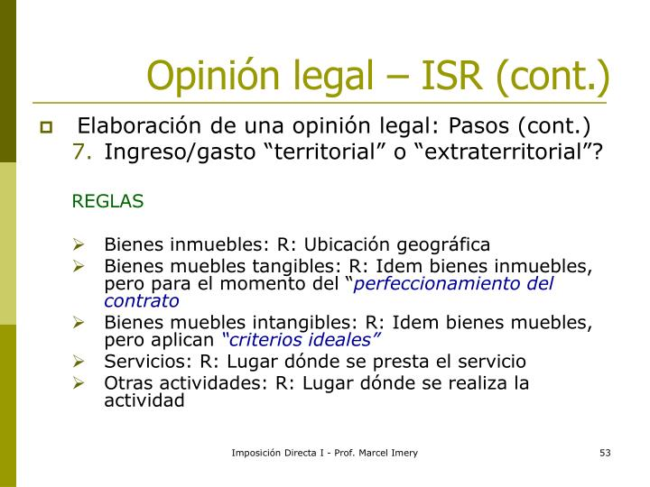 Opinión legal – ISR (cont.)