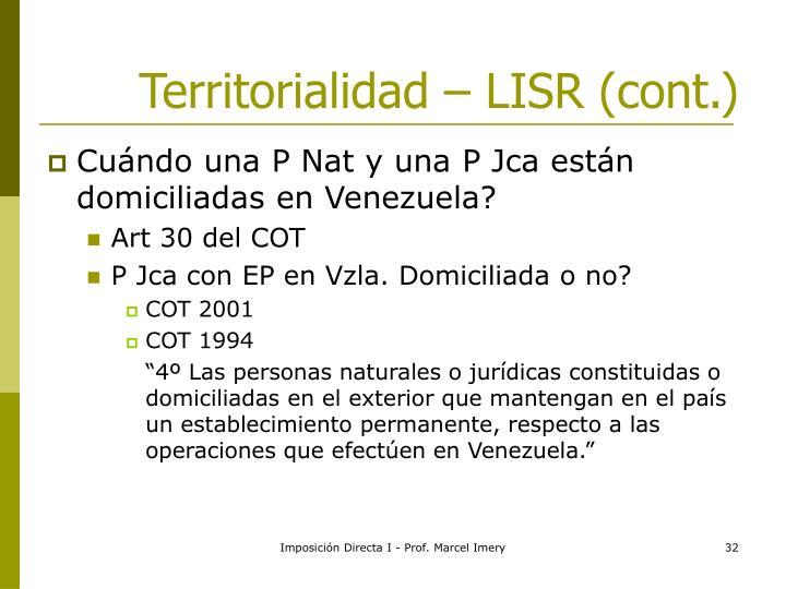 Territorialidad – LISR (cont.)