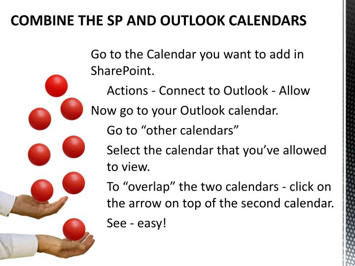 COMBINE THE SP AND OUTLOOK CALENDARS