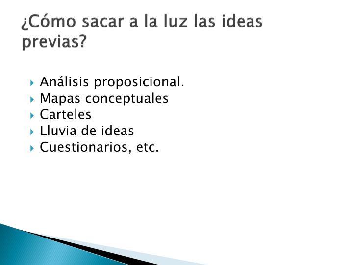 ¿Cómo sacar a la luz las ideas previas?
