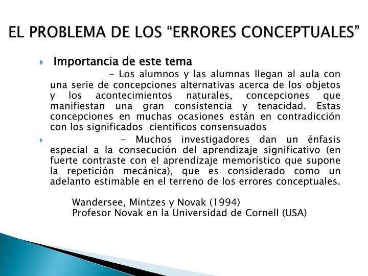 """EL PROBLEMA DE LOS """"ERRORES CONCEPTUALES"""""""