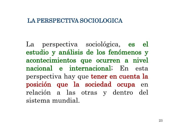 LA PERSPECTIVA SOCIOLOGICA