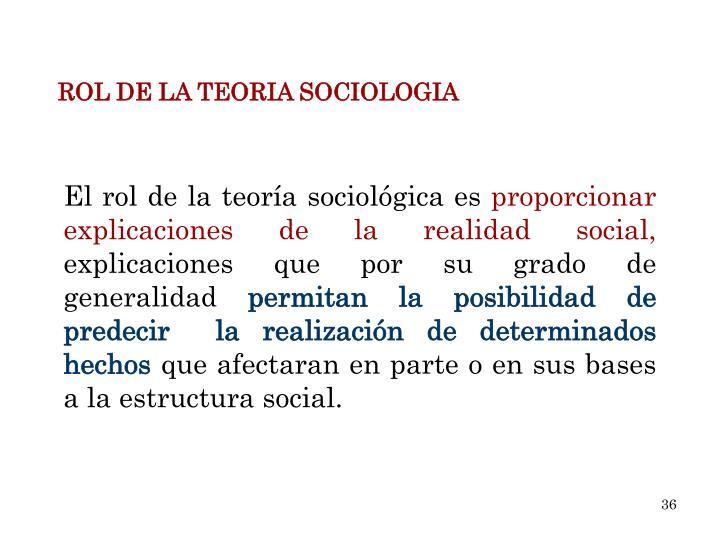 ROL DE LA TEORIA SOCIOLOGIA