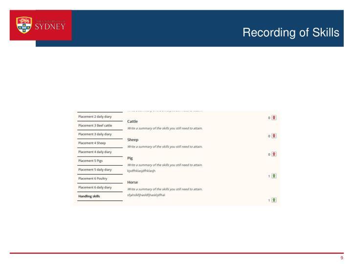 Recording of Skills