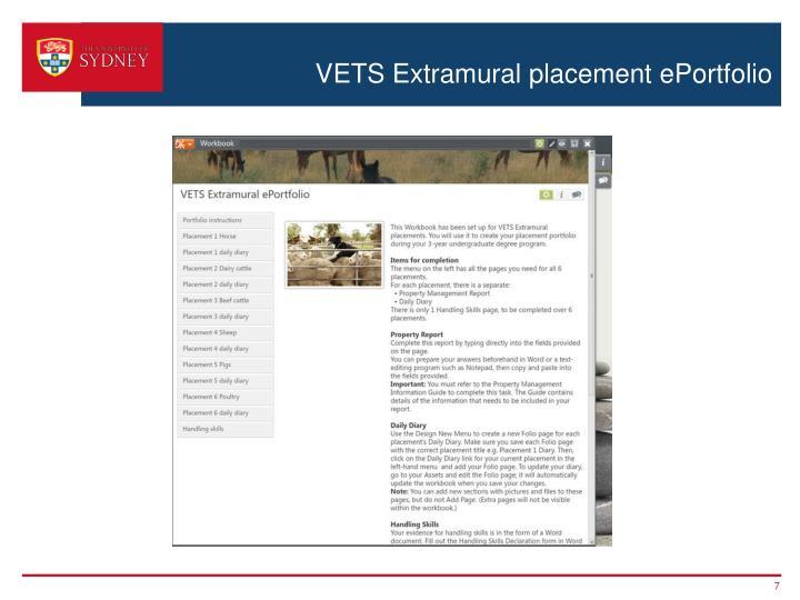 VETS Extramural placement ePortfolio