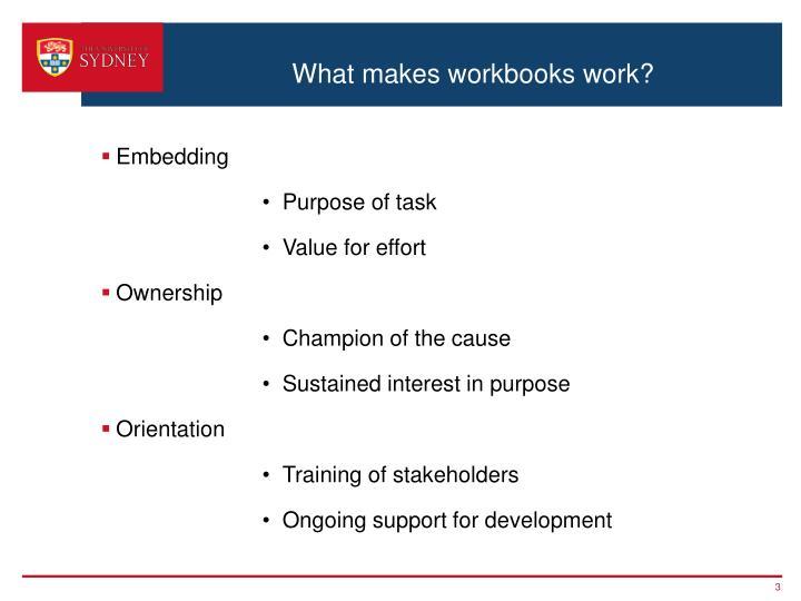 What makes workbooks work?