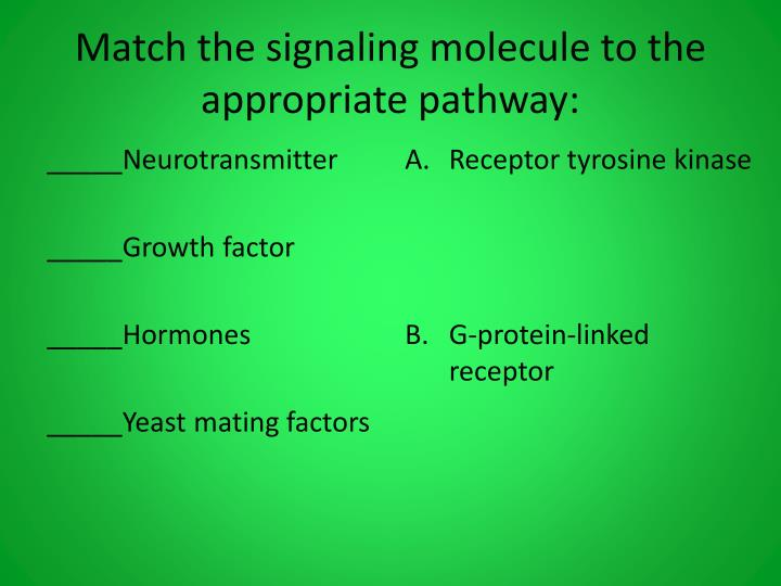 Match the signaling molecule to the appropriate pathway: