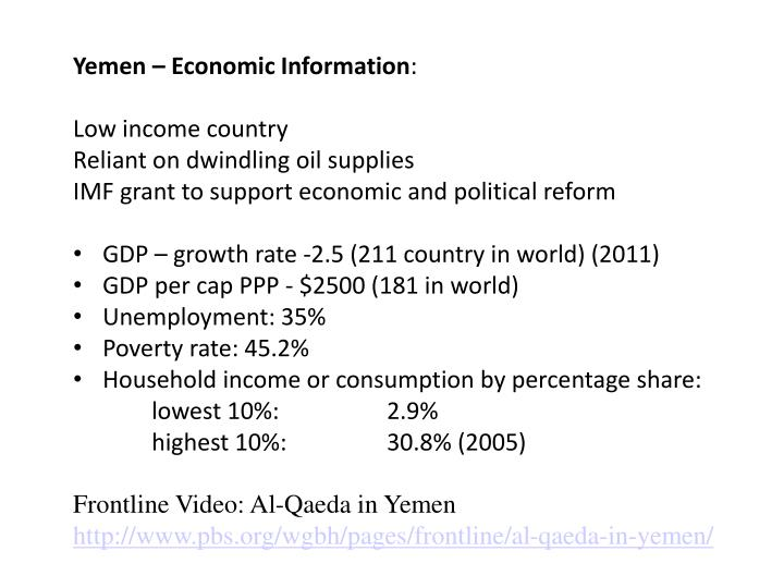 Yemen – Economic Information