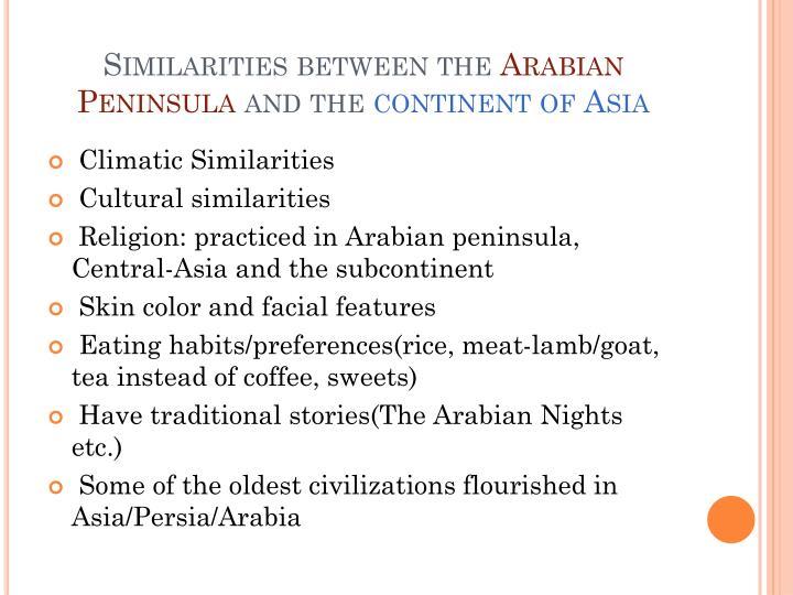 Similarities between the