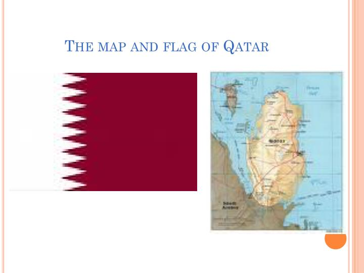 The map and flag of Qatar