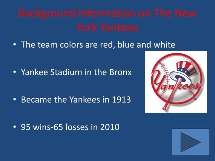 Background information on the new york yankees