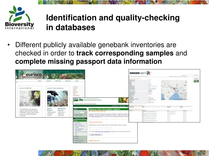 Identification and quality-checking in databases