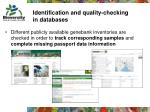identification and quality checking in databases