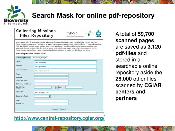 Search Mask for online pdf-repository