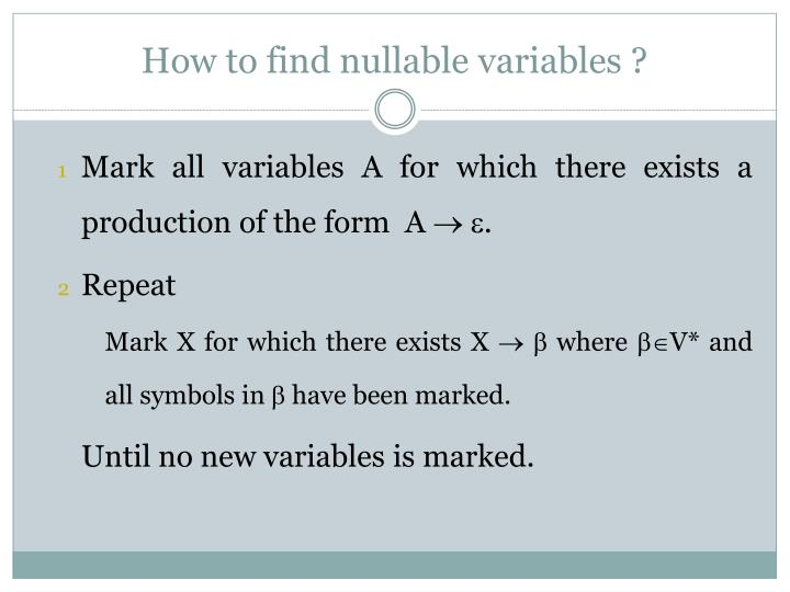 How to find nullable variables ?