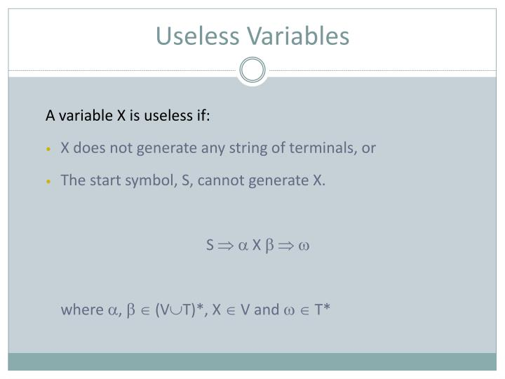 Useless Variables