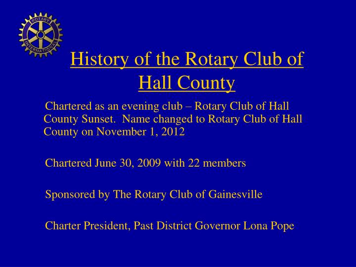 History of the Rotary Club of