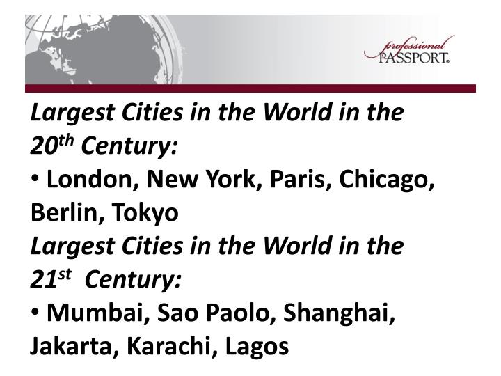 Largest Cities in the World in the