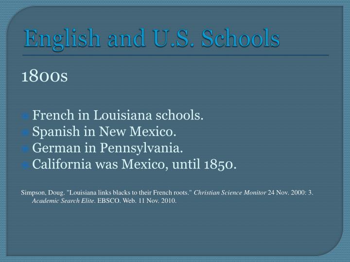 English and U.S. Schools