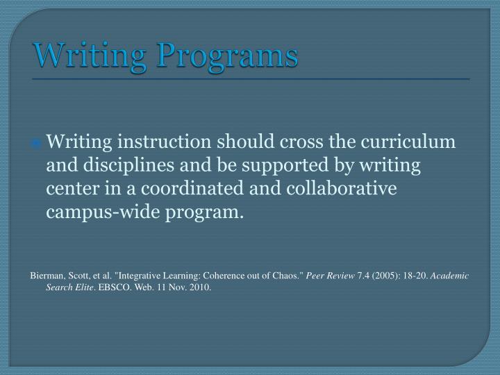 Writing Programs