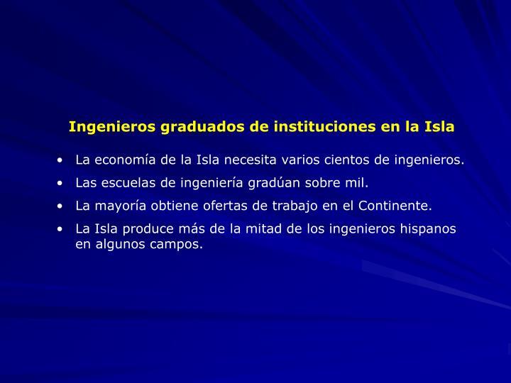 Ingenieros graduados de instituciones en la Isla
