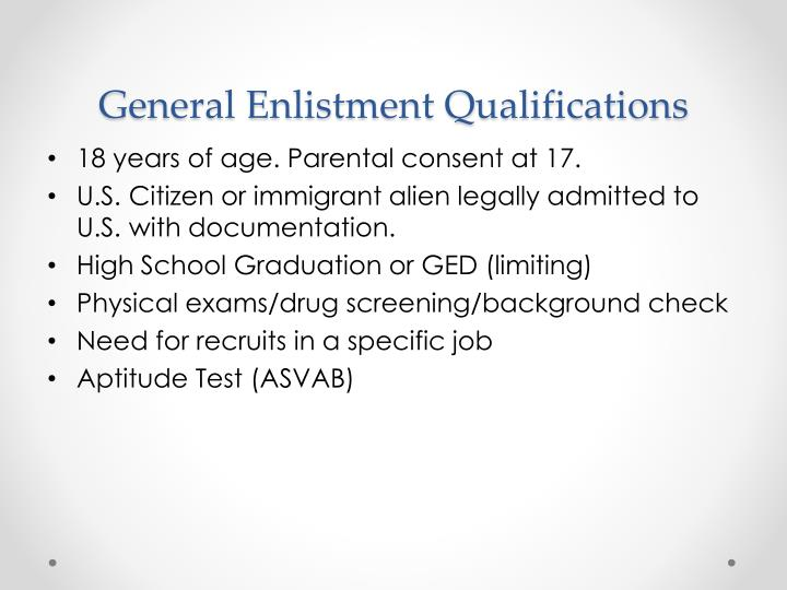General Enlistment Qualifications