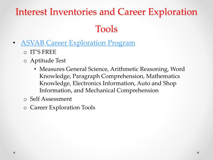 Interest Inventories and Career Exploration Tools