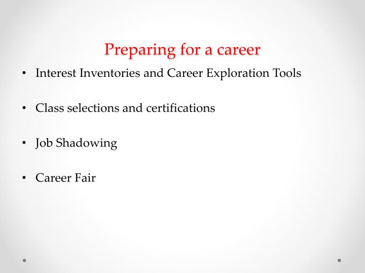 Preparing for a career