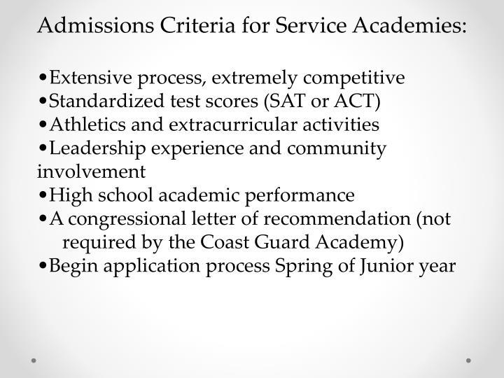 Admissions Criteria for Service Academies: