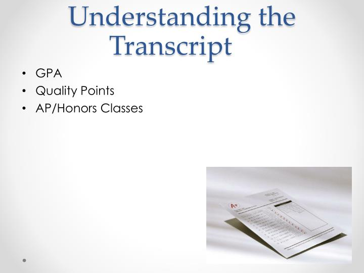 Understanding the Transcript