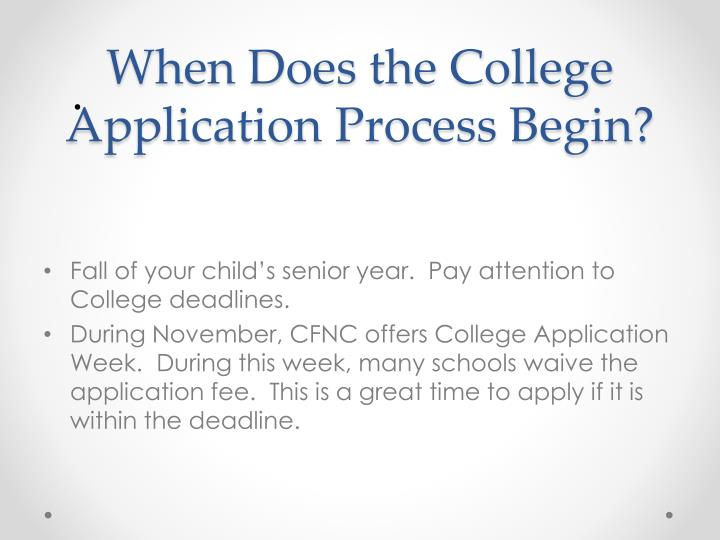 When Does the College Application Process Begin?