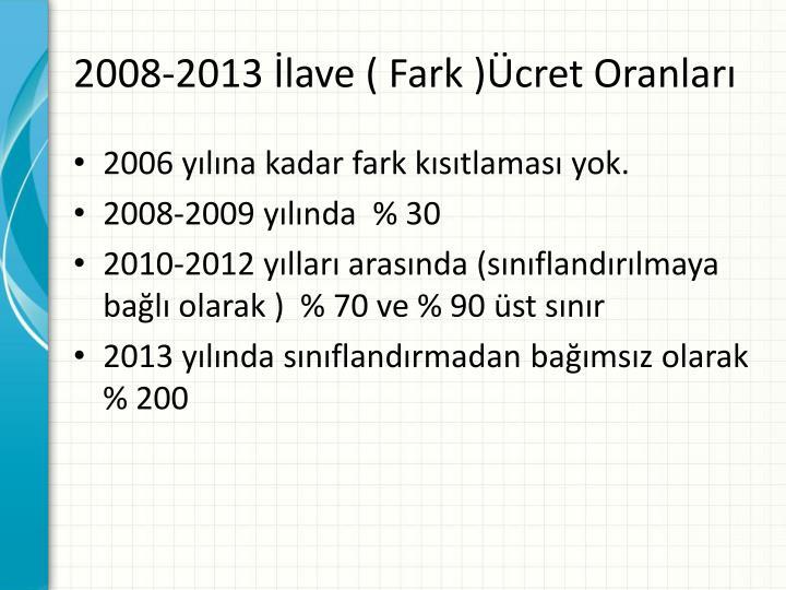 2008-2013 İlave ( Fark )Ücret Oranları