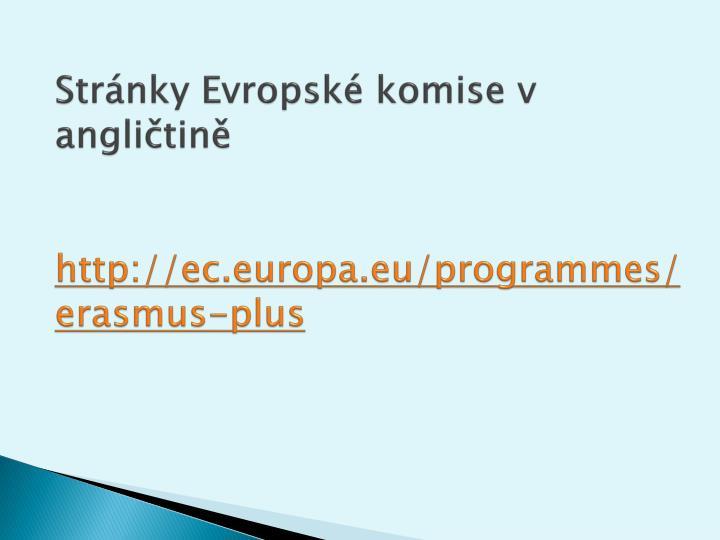 Stránky Evropské komise v angličtině
