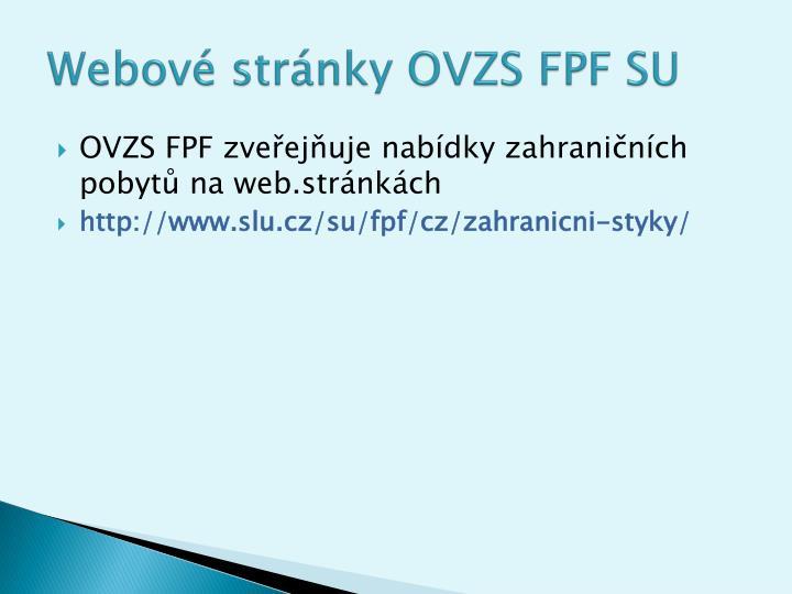 Webové stránky OVZS FPF SU