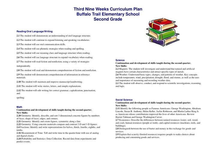 Third Nine Weeks Curriculum Plan