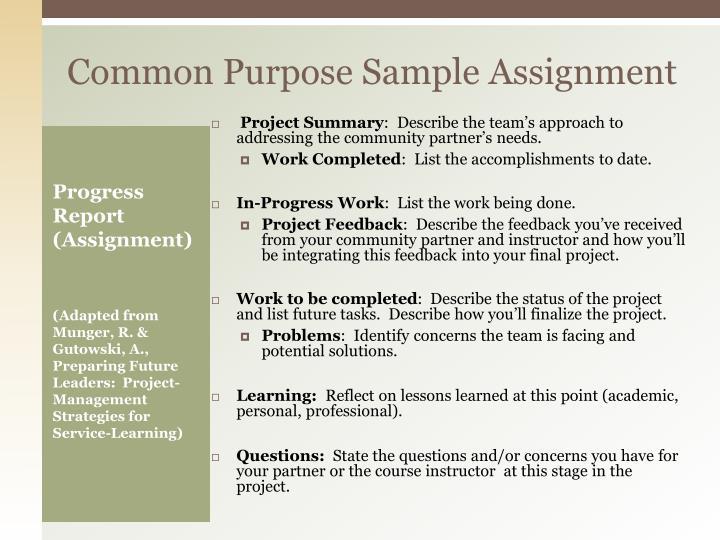 Common Purpose Sample Assignment