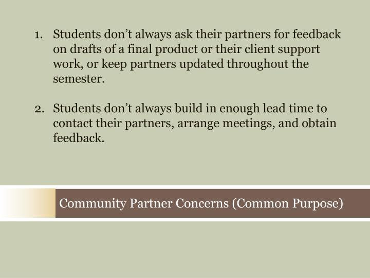 Students don't always ask their partners for feedback on drafts of a final product