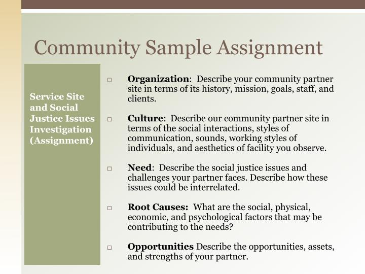 Community Sample Assignment