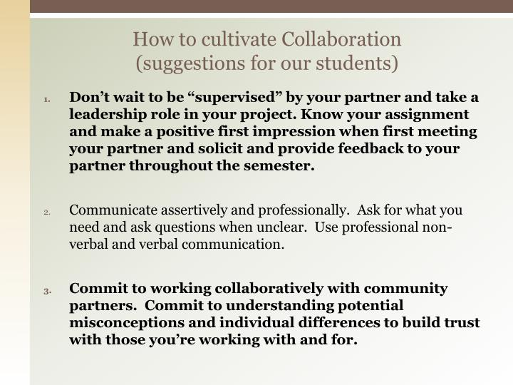 How to cultivate Collaboration