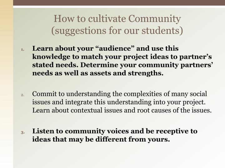 How to cultivate Community