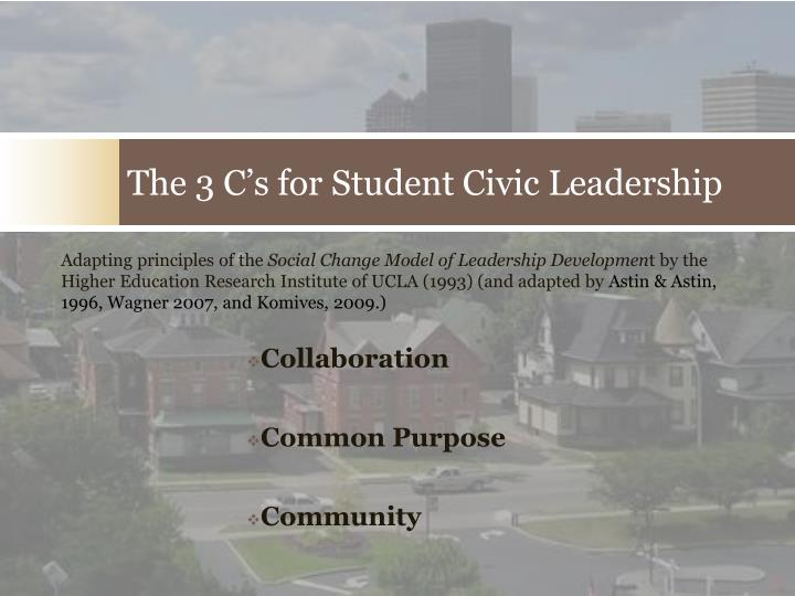 The 3 c s for student civic leadership