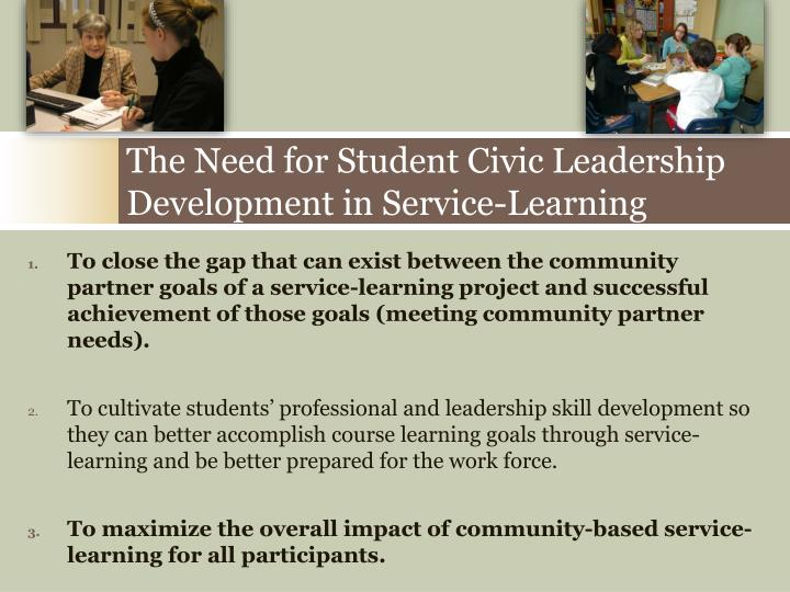 The need for student civic leadership development in service learning