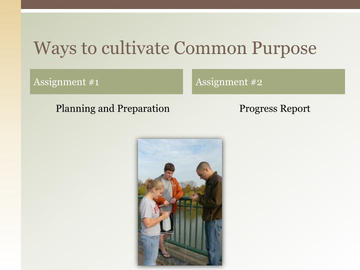 Ways to cultivate Common Purpose