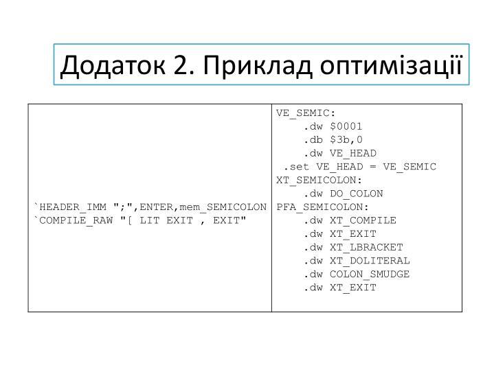 Додаток 2. Приклад оптимізації