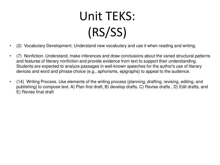 Unit TEKS: