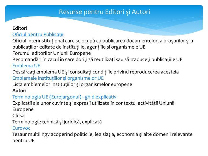 Resurse pentru Editori şi Autori