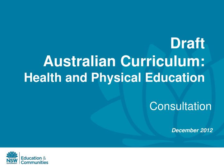 draft australian curriculum health and physical education