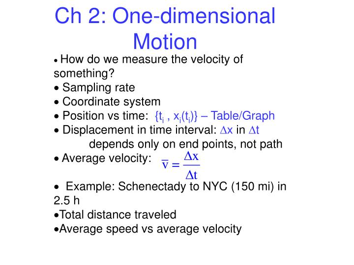 Ch 2 one dimensional motion